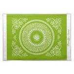 La mandala india verde hermosa inspiró Placemat Manteles Individuales