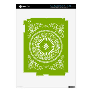 La mandala india verde y blanca inspiró el modelo iPad 3 skins