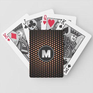 La mandarina atómica Techno del monograma puntea Baraja Cartas De Poker