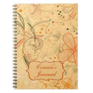 La mandarina del melocotón florece los remolinos m libros de apuntes