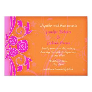 La mandarina y el boda moderno color de rosa invitación 12,7 x 17,8 cm