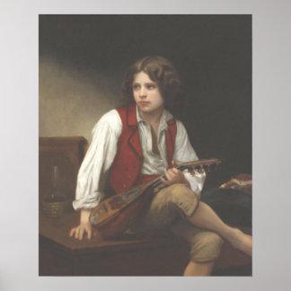 La Mandoline del à de Bouguereau - de Italien Póster