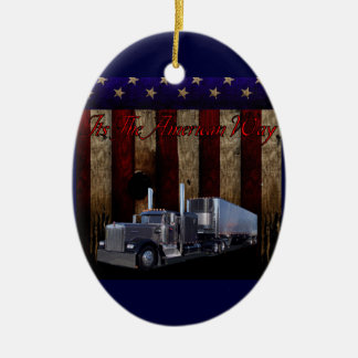 La manera americana adorno navideño ovalado de cerámica