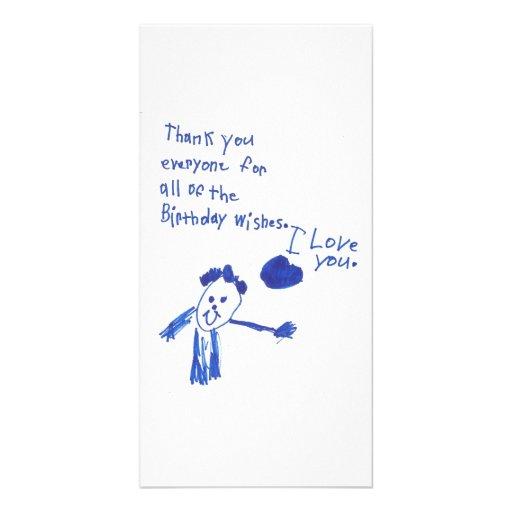 La manera de un niño de decir le agradece tarjeta fotografica