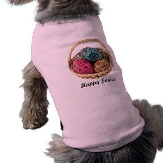 La mano adornó la camisa del perro de los huevos playera sin mangas para perro