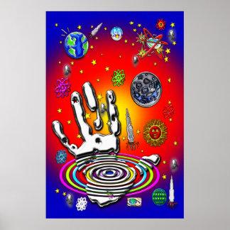 La mano de la humanidad en la impresión del espaci póster