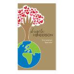 La mano de la tierra y tarjeta de encargo del tarjetas de visita