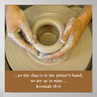 La mano del alfarero del 18:6 de Jeremiah Póster