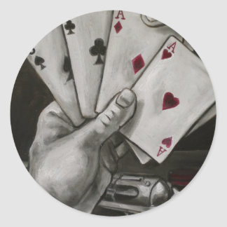 La mano del hombre muerto pegatina redonda