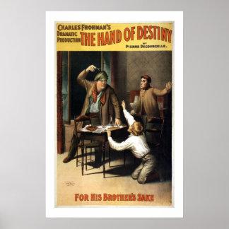 La mano del poster del teatro del vintage del dest