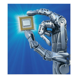 La mano del robot con la CPU Póster