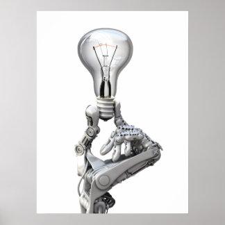 La mano del robot con un bulbo póster