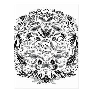 La mano del vintage bosquejó el círculo floral tarjeta postal