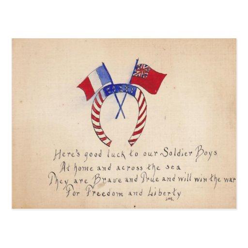 La mano del vintage de la reproducción dibujada se tarjeta postal