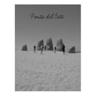 la mano punta black and white postcard