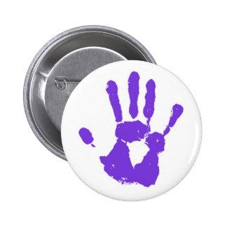 La mano púrpura pin redondo de 2 pulgadas