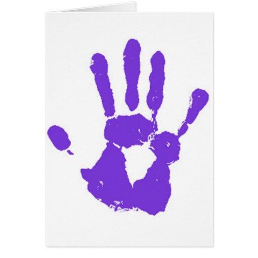 La mano púrpura tarjeta