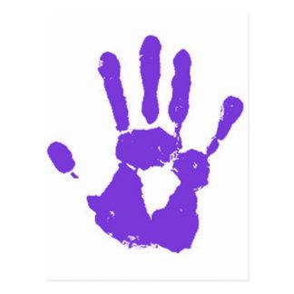 La mano púrpura tarjeta postal