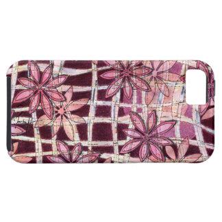 La mano tallada florece Borgoña iPhone 5 Fundas