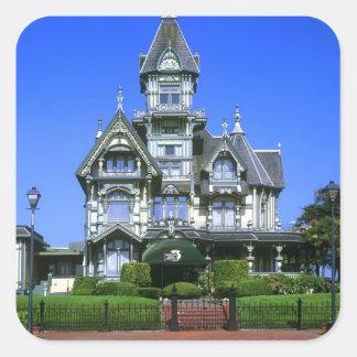 La mansión de Carson en Eureka, California Pegatina Cuadrada