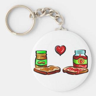 La mantequilla de cacahuete ama la jalea llavero redondo tipo pin