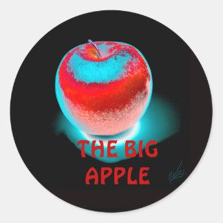 la manzana roja grande pegatina redonda