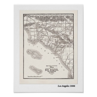 LA Map from 1886 Print