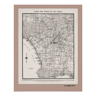 LA Map from 1925 Print