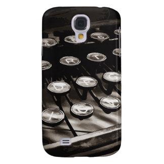 La máquina de escribir antigua vieja cierra blanco funda para galaxy s4