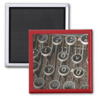 """La máquina de escribir cierra """"te amo """" imán cuadrado"""