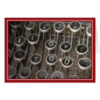 """La máquina de escribir cierra """"te amo """" tarjeta de felicitación"""