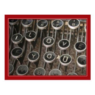 "La máquina de escribir cierra ""te amo "" tarjetas postales"