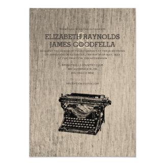 """La máquina de escribir del vintage cierra invitación 5"""" x 7"""""""