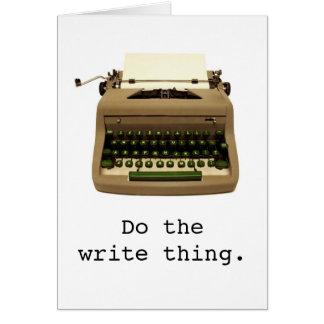 """La máquina de escribir """"hace la cosa de la tarjeta de felicitación"""