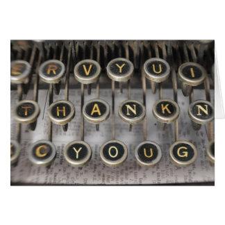 La máquina de escribir le agradece tarjeta pequeña
