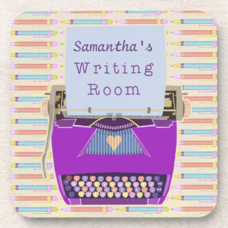 La máquina de escribir personalizada es autor del posavasos de bebidas