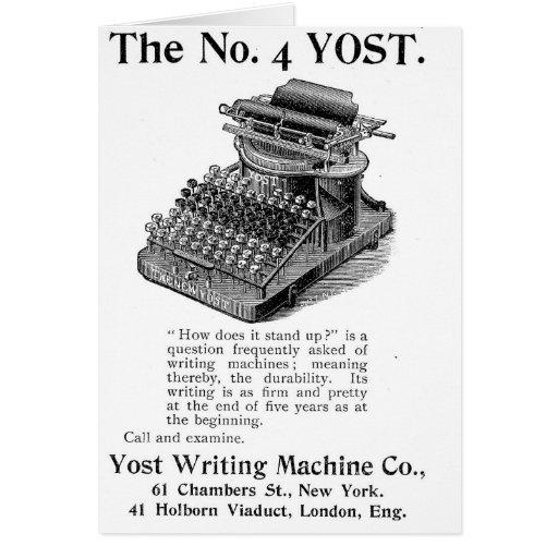 La máquina de la escritura de no. 4 Yost Tarjetón