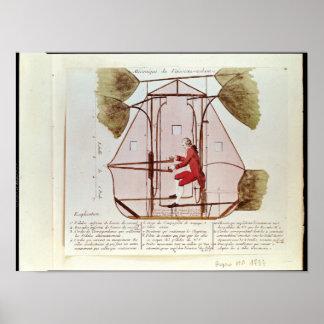 La máquina de vuelo de Jean Pedro Blanchard Posters
