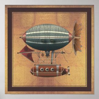 La máquina de vuelo de Steampunk del Aleutian del  Poster