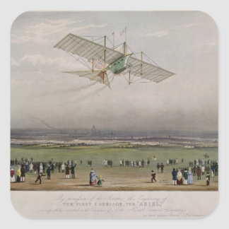 La máquina de vuelo pegatina cuadrada