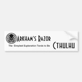 La maquinilla de afeitar de Arkham Etiqueta De Parachoque