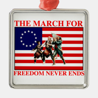 la marcha para la libertad nunca termina adorno navideño cuadrado de metal