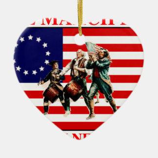 la marcha para la libertad nunca termina adorno navideño de cerámica en forma de corazón