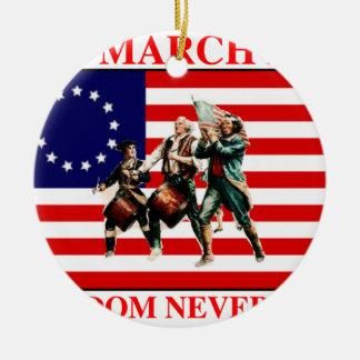 la marcha para la libertad nunca termina adorno navideño redondo de cerámica