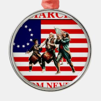la marcha para la libertad nunca termina adorno navideño redondo de metal