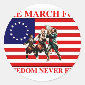 la marcha para la libertad nunca termina pegatina redonda