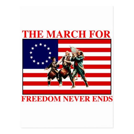 la marcha para la libertad nunca termina postal