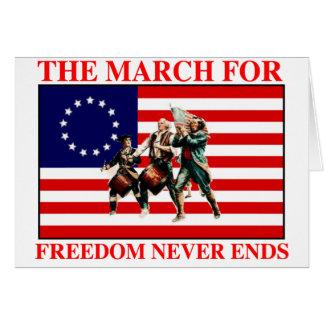 la marcha para la libertad nunca termina tarjeta de felicitación