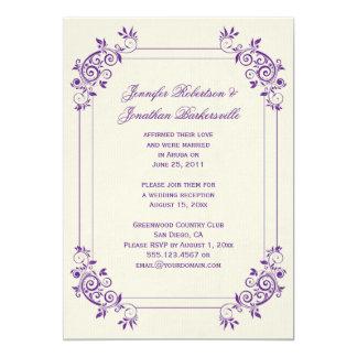 La marfil del vintage con púrpura remolina boda invitación 12,7 x 17,8 cm