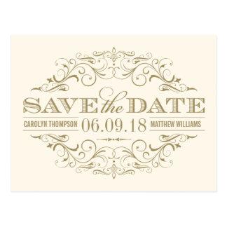 La marfil y el oro ahorran el remolino de la fecha tarjeta postal